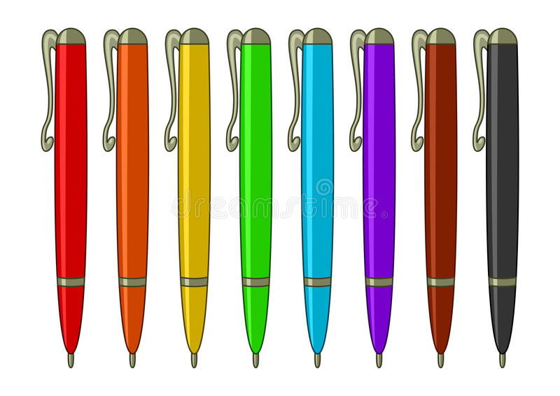 Reeks multicoloured pennen stock illustratie