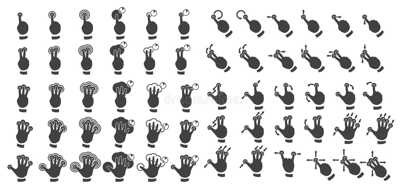 Reeks multitouchgebaren stock illustratie