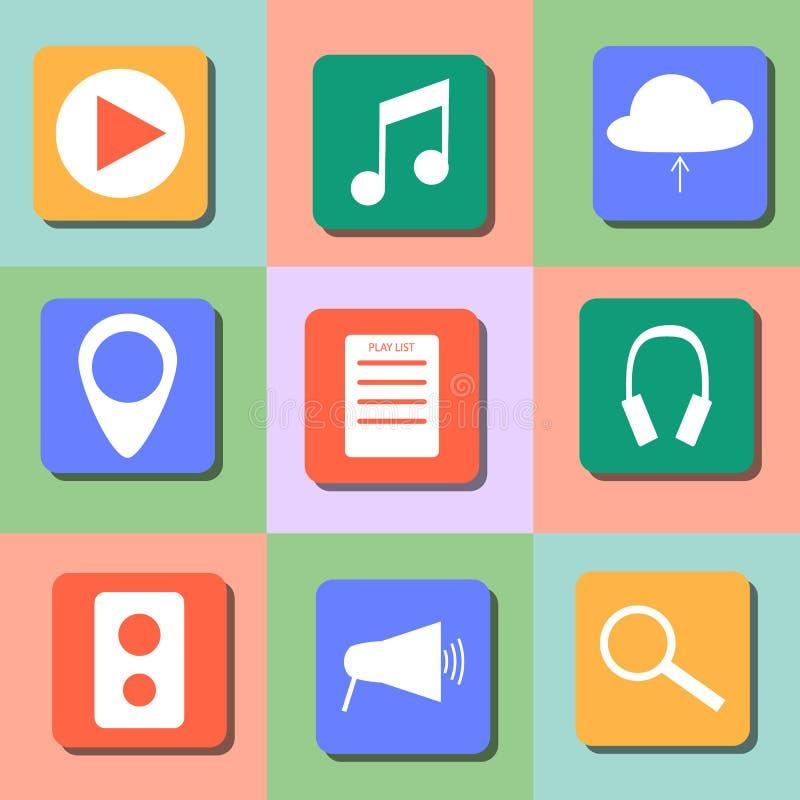 Reeks muziekpictogrammen Kleurrijk vlak ontwerp stock illustratie