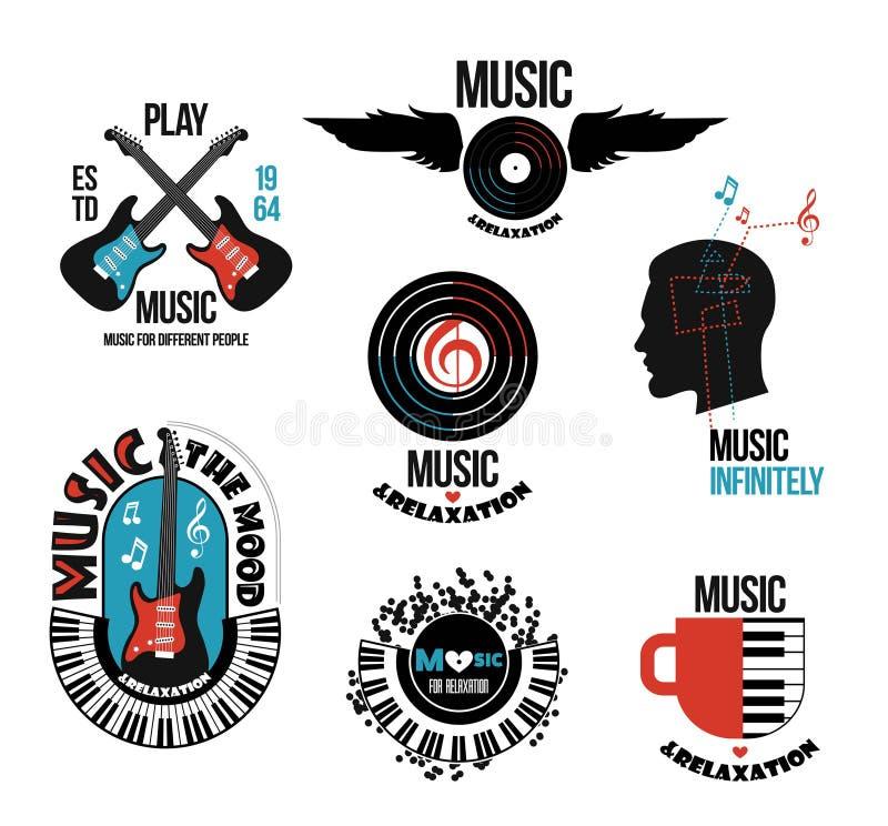 Reeks muzikale emblemen en emblemen vector illustratie