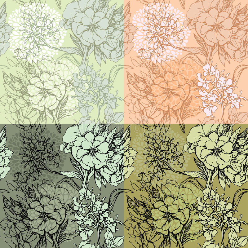 Reeks naadloze achtergronden - Bloemen Naadloze Patternhand stock illustratie