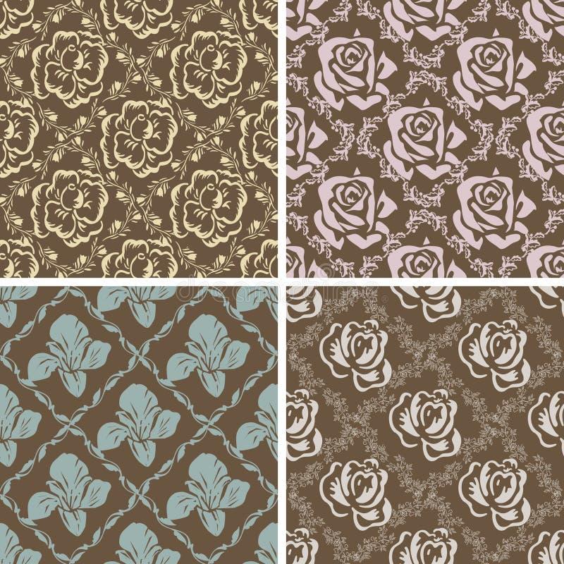 Reeks naadloze bloemen retro patronen. stock illustratie