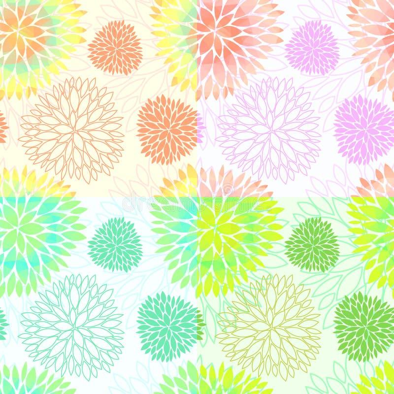 Reeks naadloze bloemenbloesempatronen vector illustratie