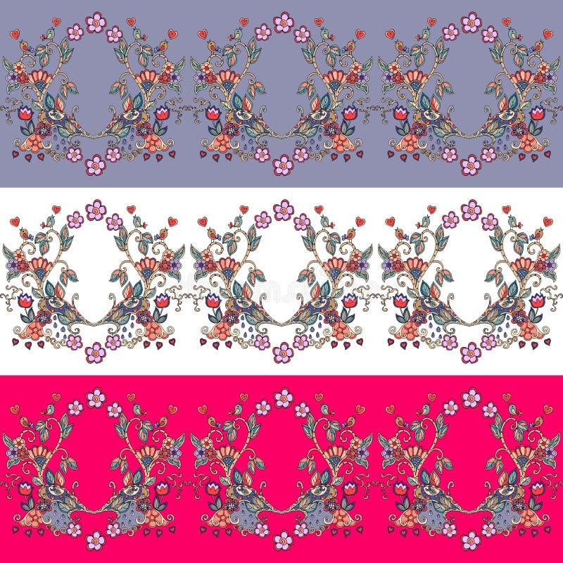 Reeks naadloze bloemengrenzen Decoratief ornament royalty-vrije illustratie