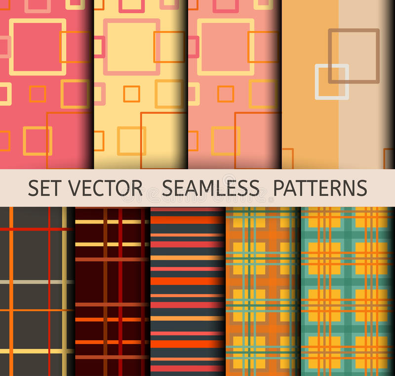Reeks naadloze geometrische patronen royalty-vrije illustratie