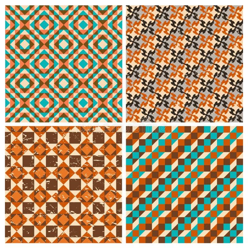 Reeks naadloze geometrische retro patronen royalty-vrije illustratie