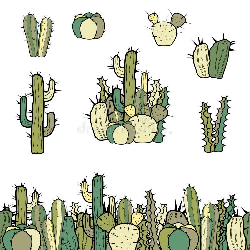 Reeks naadloze grens, groep en verschillende types van cactussen royalty-vrije illustratie