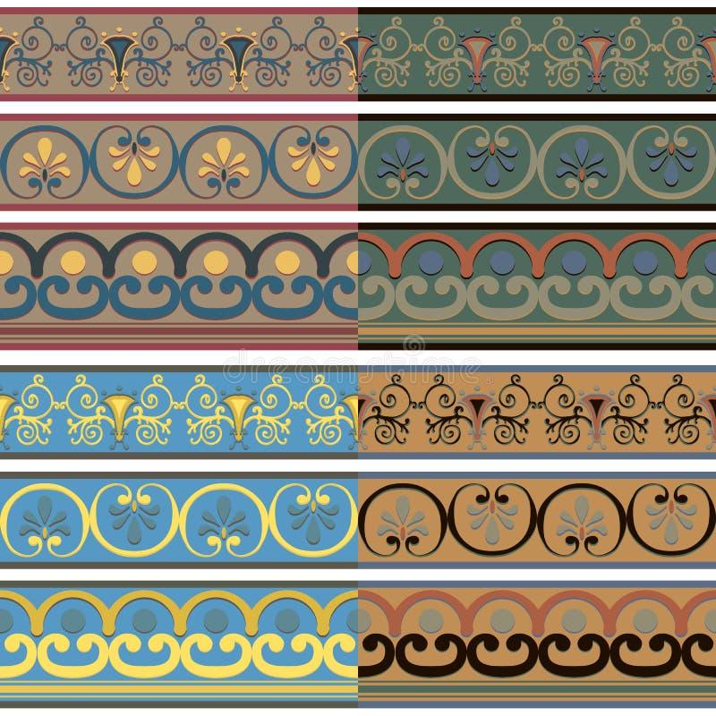 Reeks naadloze Griekse patronen van verschillende kleuren stock illustratie