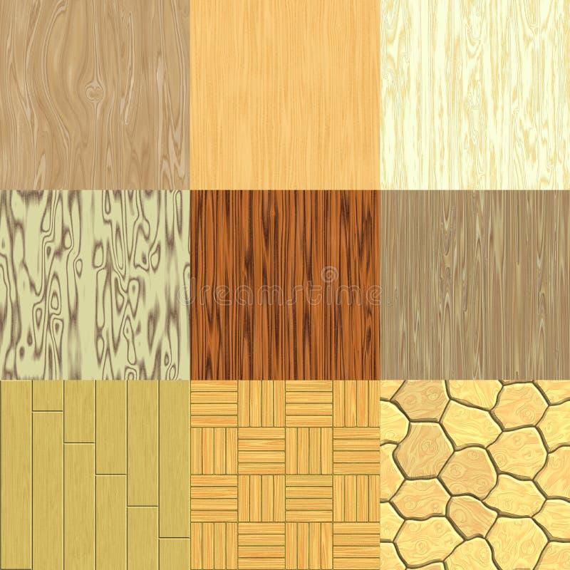 Reeks naadloze hout geproduceerde texturen royalty-vrije illustratie