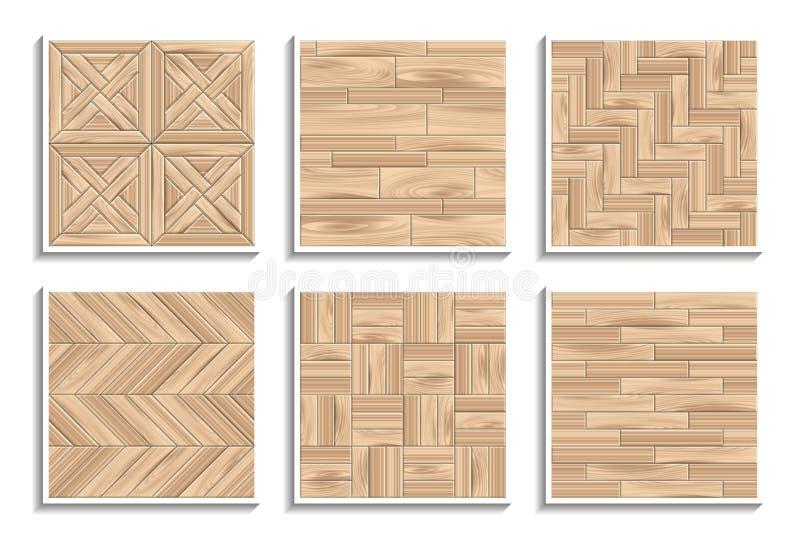 Reeks naadloze parkettexturen 3D patronen van houten materialen vector illustratie