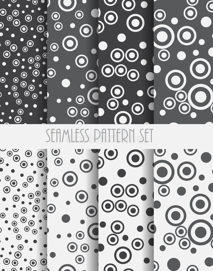 Reeks naadloze patronen De abstracte achtergronden van cirkelspunten Vector illustratie stock illustratie