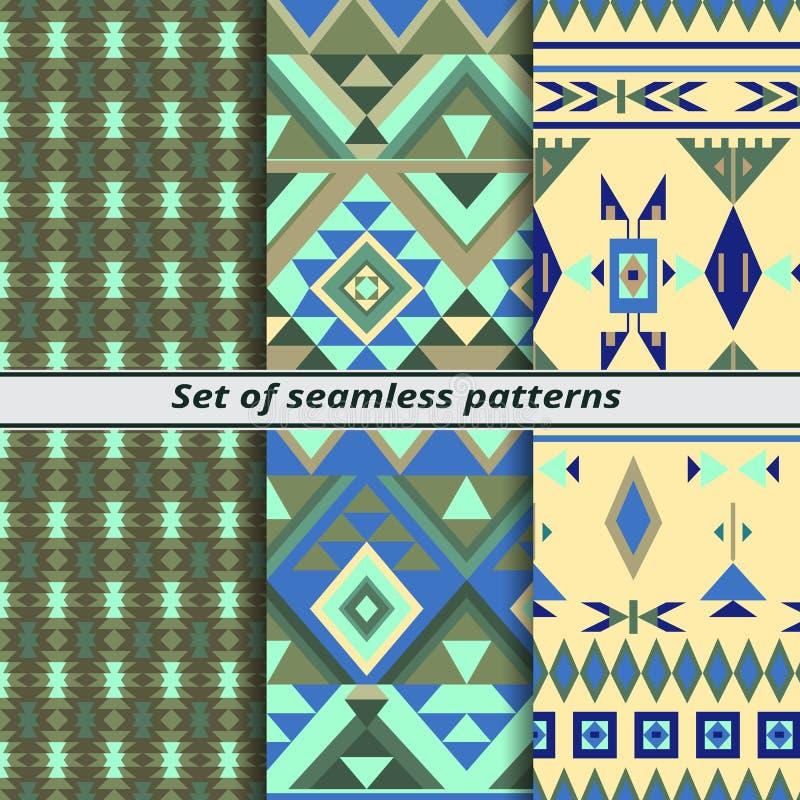 Reeks naadloze patronen in etnische stijl, vectorachtergrond stock illustratie