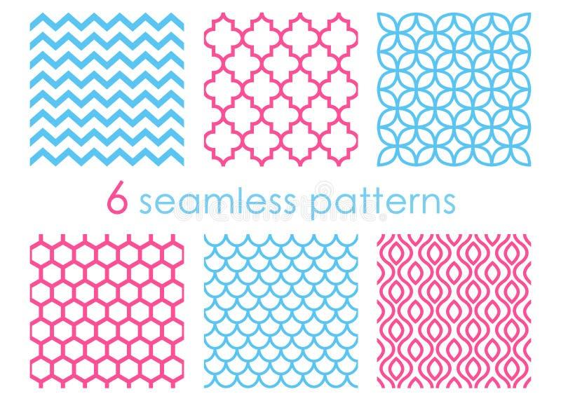 Reeks naadloze patronen Geometrische achtergronden Abstracte texturen Meerminpatroon Chevronachtergrond hexagon vector illustratie