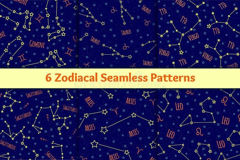 Reeks naadloze patronen met de de tekens en constellaties van de beelddierenriem royalty-vrije illustratie
