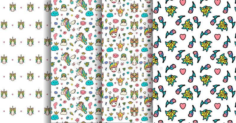 Reeks 4 naadloze patronen met decoratief met leuke gezichten van eenhoorns, roomijs, sterren, harten, doughnut, regenboog, kronen royalty-vrije illustratie