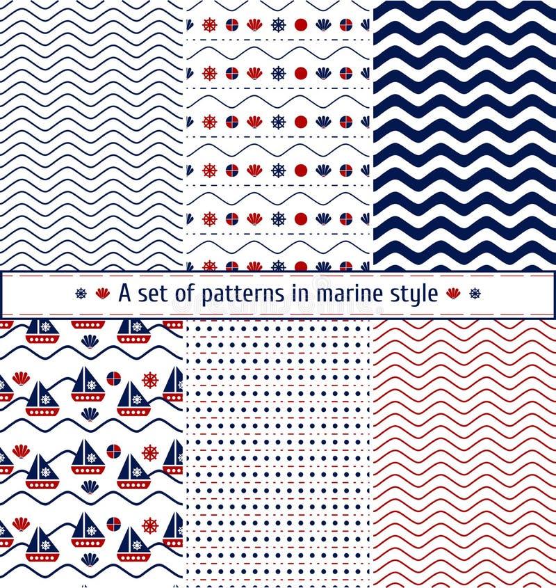 Reeks naadloze patronen met een maritiem thema Schip en zeil, overzeese shell, overzeese golven Mariene achtergrond royalty-vrije illustratie