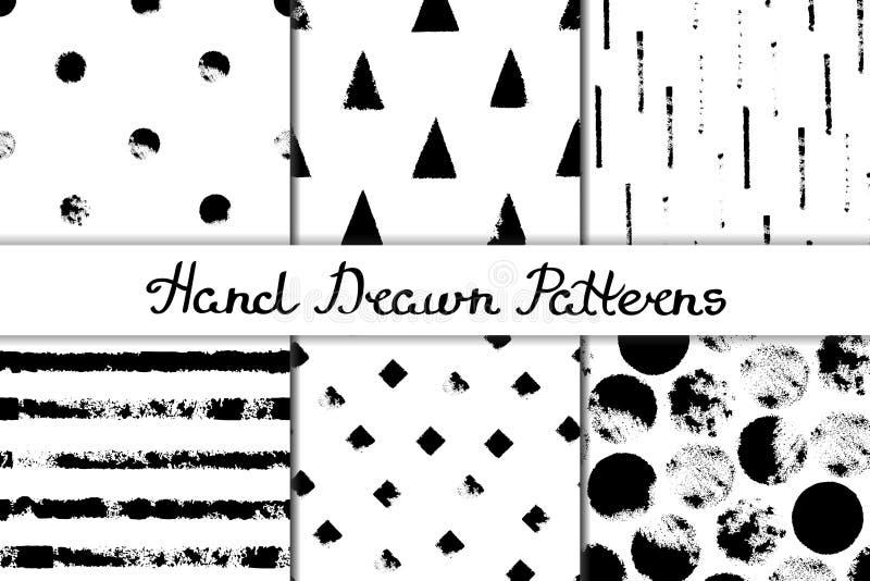 Reeks naadloze patronen met geometrische ontwerpen Cirkel, driehoek, ruit, streep in zwart-wit Getrokken hand vector illustratie