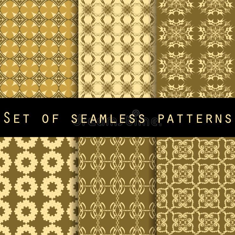 Reeks naadloze patronen met geometrische vormen Het patroon voor behang, tegels, stoffen en ontwerpen vector illustratie