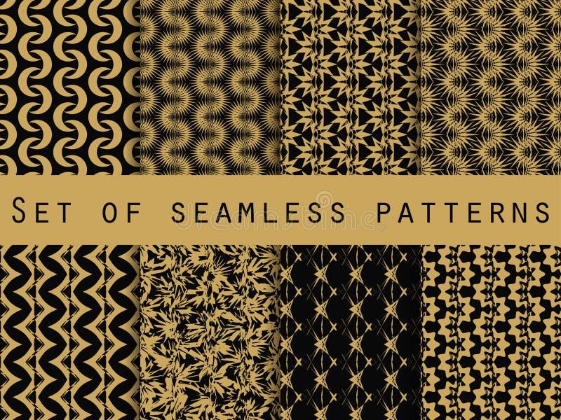 Reeks naadloze patronen met geometrische vormen Het patroon voor behang, tegels, stoffen en ontwerpen stock illustratie