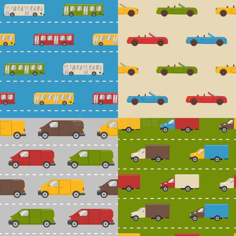Reeks naadloze patronen met kleurrijke auto's vector illustratie