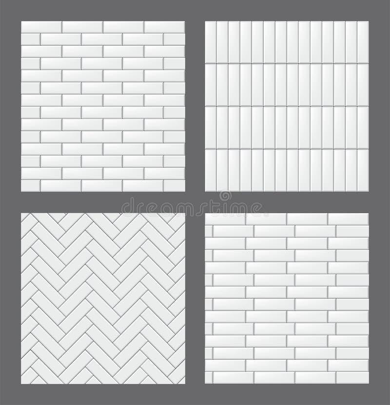 Reeks naadloze patronen met moderne rechthoekige witte tegels Realistische textureninzameling Vector illustratie royalty-vrije illustratie