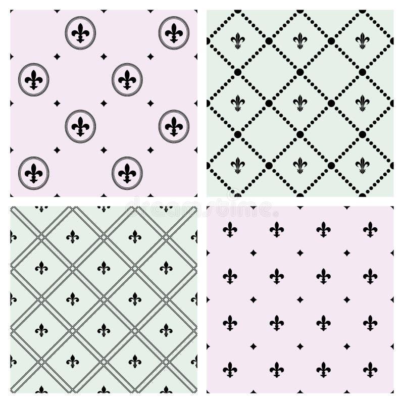 Reeks naadloze patronen met pictogrammen fleurs-DE-Lis royalty-vrije illustratie