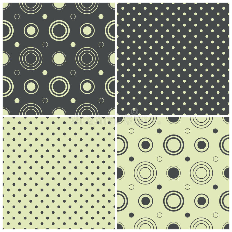 Naadloze patronen met stippen en cirkels, vectorillustratie royalty-vrije illustratie