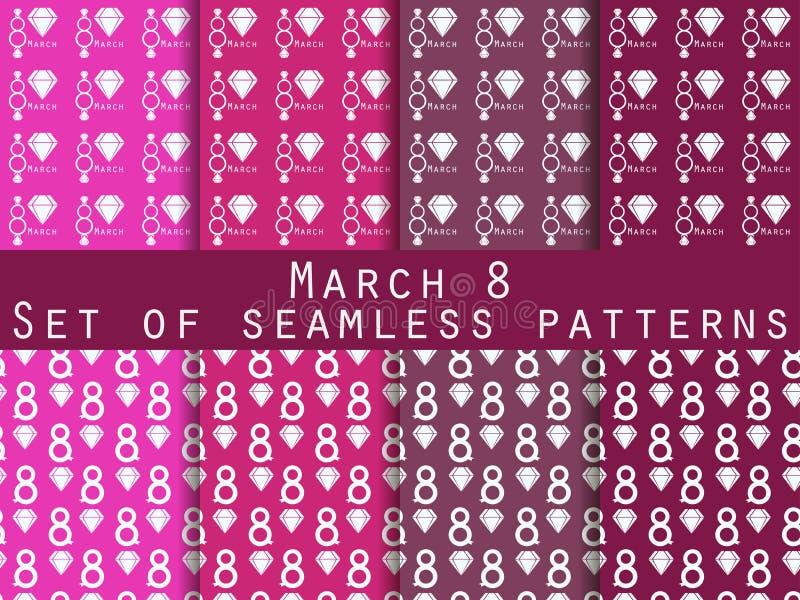 Reeks naadloze patronen op 8 Maart Internationale Vrouwen` s Dag vector illustratie