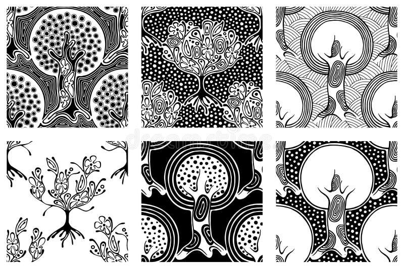 Reeks naadloze patronen, vector getrokken hand het herhalen van illustratie, decoratieve sier gestileerde eindeloze bomen Rebecca stock illustratie