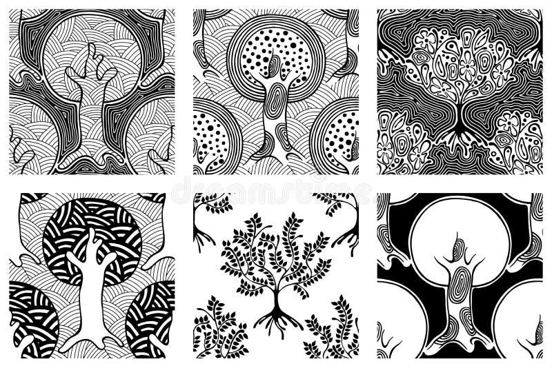 Reeks naadloze patronen, vector getrokken hand het herhalen van illustratie, decoratieve sier gestileerde eindeloze bomen Rebecca royalty-vrije illustratie