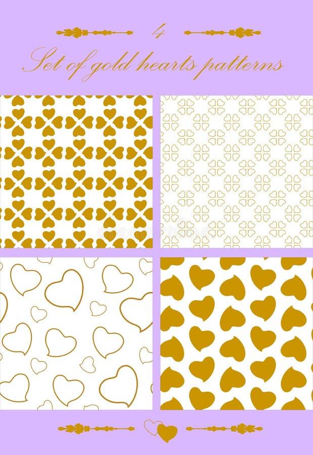 Reeks Naadloze patroon gouden harten royalty-vrije stock afbeeldingen