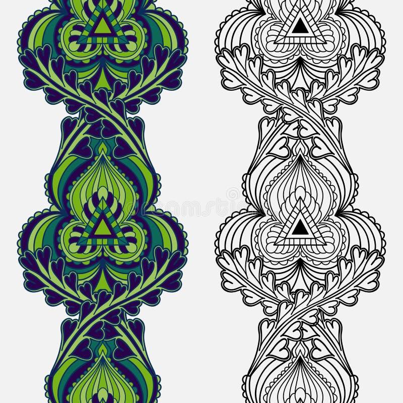 Reeks naadloze sier etnische bloemen verticale strepen vector illustratie