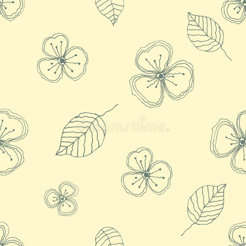 Reeks naadloze vector bloemenpatronen Gele hand getrokken achtergrond met bloemen, bladeren, decoratieve elementen Grafische illu stock illustratie