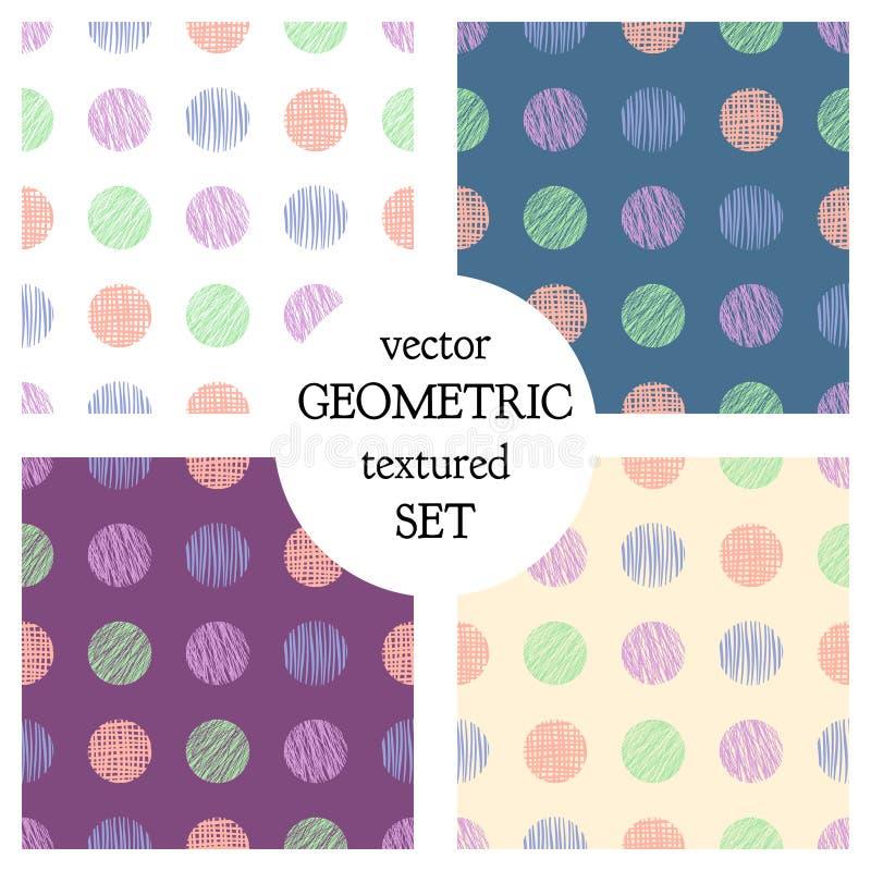 Reeks naadloze vector geometrische patronen met cirkels pastelkleur eindeloze achtergrond met hand getrokken geweven geometrische royalty-vrije illustratie