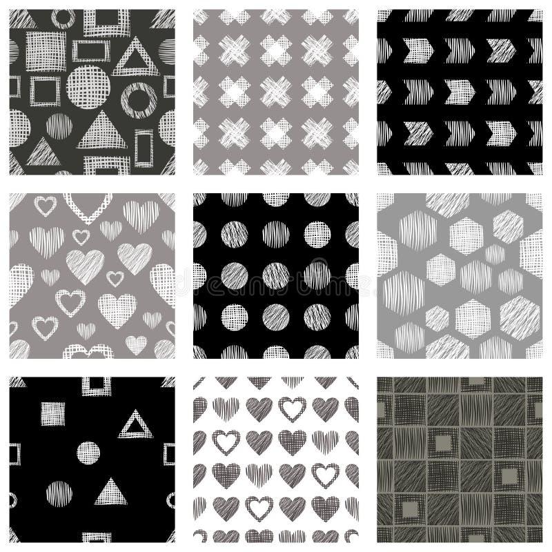 Reeks naadloze vector geometrische patronen met verschillende geometrische cijfers, vormen, grijs, zwart wit Pastelkleur eindeloz vector illustratie