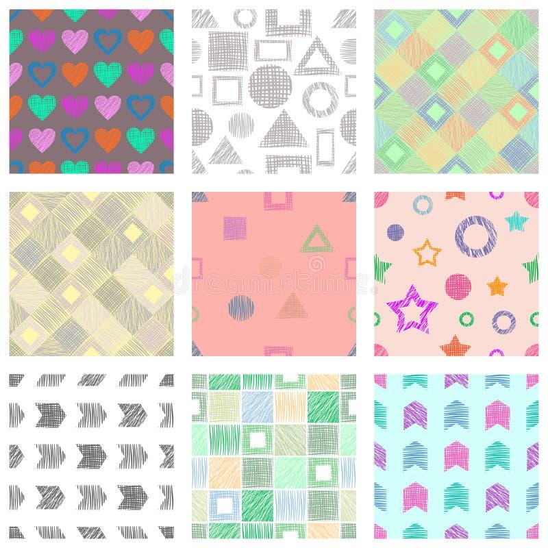 Reeks naadloze vector geometrische patronen met verschillende geometrische cijfers, vormen pastelkleur eindeloze achtergrond met  vector illustratie