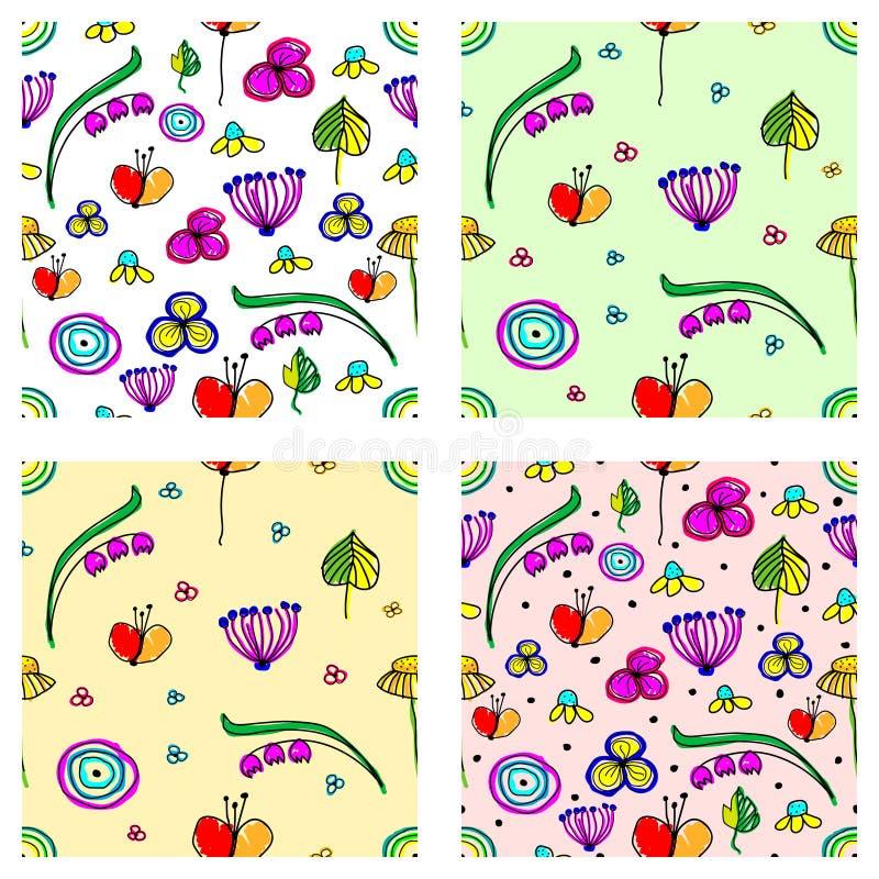 Reeks naadloze vector kinderlijke bloemenpatronen Leuke hand getrokken eindeloze achtergronden met kinderachtige bloemen en blade royalty-vrije illustratie