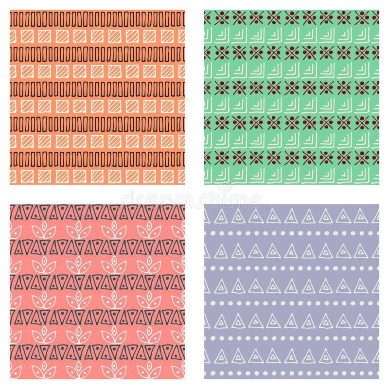 Reeks naadloze vectorpatronen De kleurrijke geometrische eindeloze achtergronden met hand getrokken geometrische vormen, driehoek vector illustratie