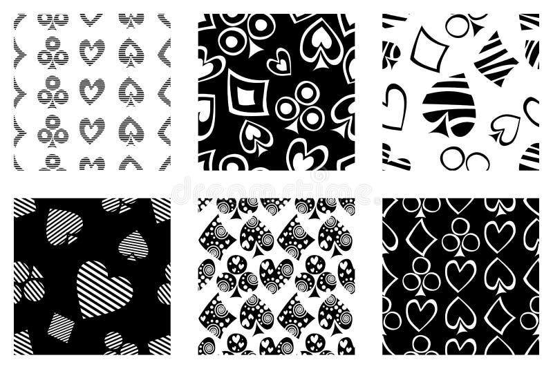 Reeks naadloze vectorpatronen met pictogrammen van het spelen kaarten Achtergrond met hand getrokken symbolen Zwart-witte Decorat stock illustratie