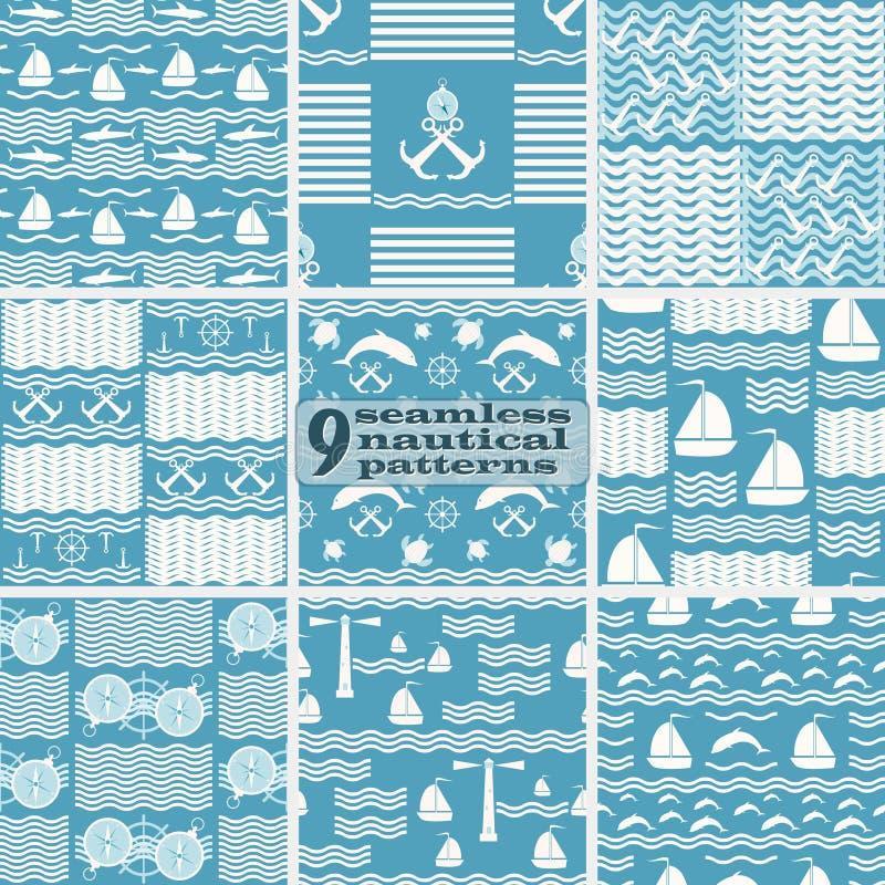 Reeks naadloze zeevaart overzeese patronen blauwe en witte kleuren royalty-vrije illustratie