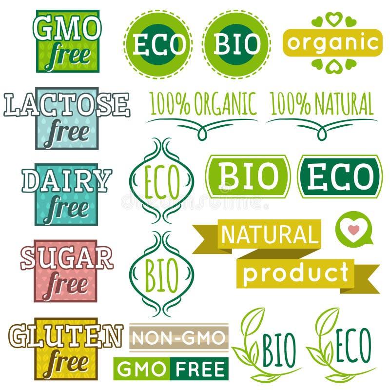 Reeks natuurlijke biologisch productetiketten en emblemen vector illustratie
