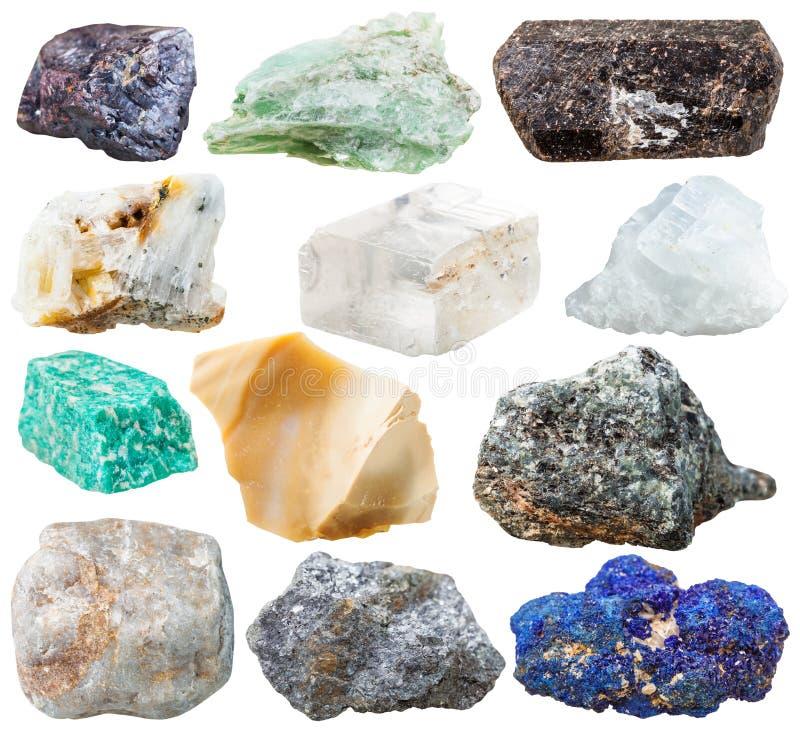 Reeks natuurlijke geïsoleerde rotsen en stenen stock foto