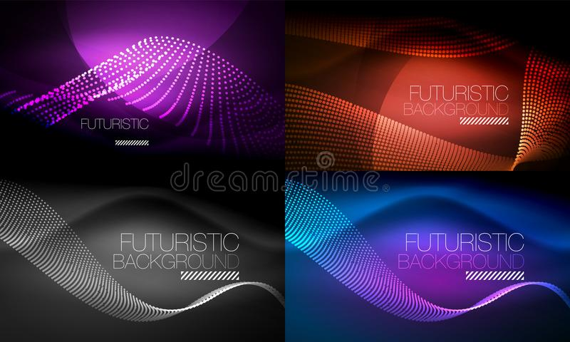 Reeks neon gloeiende golven en lijnen, glanzende de motieachtergronden van lichteffect digitale techno Inzameling van donkere rui stock illustratie
