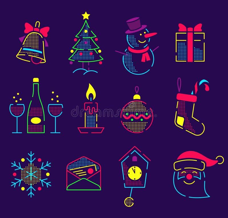 Reeks neon heldere pictogrammen voor het nieuwe jaar en Kerstmis vector illustratie
