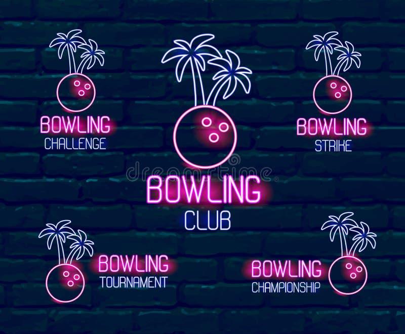 Reeks neonemblemen in roze-blauwe kleuren Inzameling van 5 illustraties voor tropisch kegelen voor toernooien, uitdaging, vector illustratie