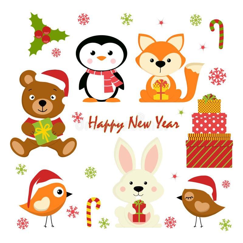 Reeks nieuwe jaarkarakters vector illustratie