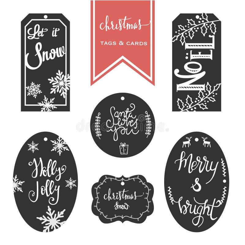 Reeks nieuwe jaarstickers met wensen, decoratie en ornament stock illustratie
