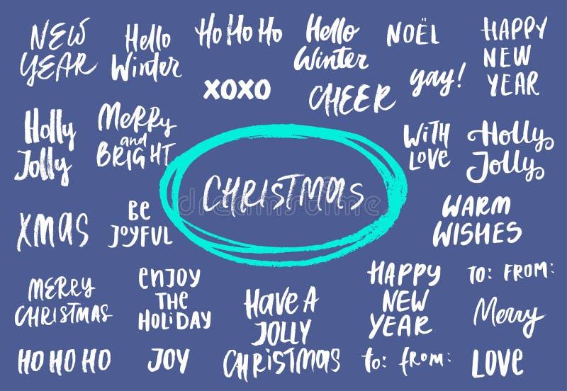 Reeks Nieuwjaar en Kerstmisuitdrukkingen en woorden Inzameling van hand het getrokken van letters voorzien Vector illustratie vector illustratie