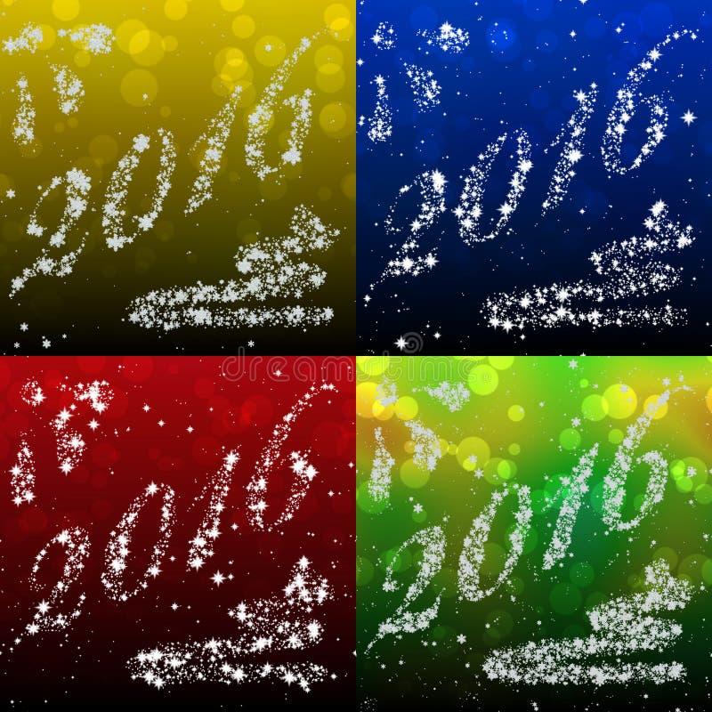 Reeks Nieuwjaar 2016 ster geproduceerde texturen stock illustratie
