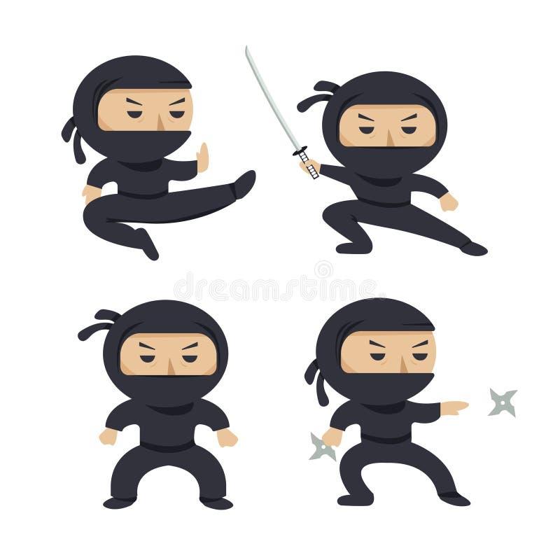 Reeks ninjakarakters die verschillende acties tonen stock illustratie